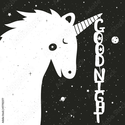 Photo  Vector hand drawn typography poster with cute Unicorn and starry background