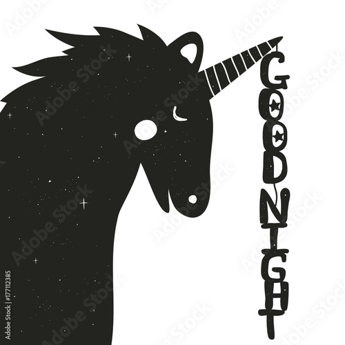 Vector hand drawn typography poster with cute Unicorn Canvas Print