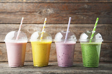 Sweet Smoothie In Plastic Cups...