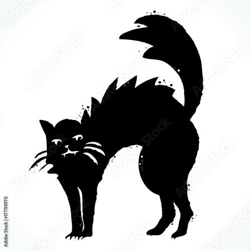 Hand Drawn Picture Of Cat Silhouette Isolated On White Background Template For Design Vector Ilration