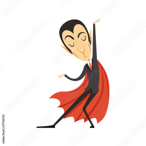 Fotografie, Obraz  Count Dracula, dancing vampire in suit and red cape