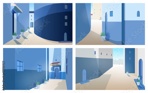 Collection of beautiful Morocco landscapes with building walls, doors of traditional shape, outdoor plants growing in pots. Set of gorgeous street views of ancient Moroccan city. Vector illustration.
