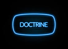 Doctrine  - Colorful Neon Sign On Brickwall