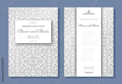 Set of wedding invitation templates cover design with silver swirl set of wedding invitation templates cover design with silver swirl ornaments vector illustration stopboris Images