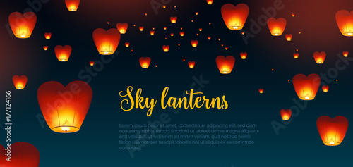 Beautiful horizontal background with Kongming Chinese lanterns and place for text Fototapet