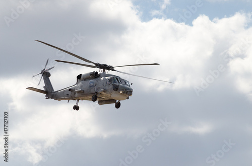 Tuinposter Helicopter Black hawk uh 60 helicopter rescue team blue sky