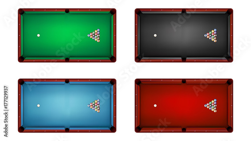 Fotografie, Obraz Top view of billiard table and billiard balls, vector illustration