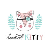 Print for nursery. Scandinavian style baby print. Hand drawn vector illustration with kitty. Vector lettering. - 177130716