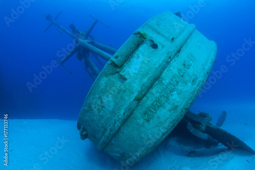 Photo Stands Shipwreck The wreck of the USS Kittiwake has been toppled over by the recent hurricane Nate. The popular dive and snorkel attraction now lies on its side