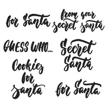 Secret Santa Christmas Set - Hand Drawn Lettering Quote Isolated On The White Background. Fun Brush Ink Inscription For Photo Overlays, Greeting Card Or T-shirt Print, Poster Design.
