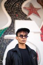Portrait On Background Mosaic