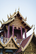 Architectural Features Of A Buddhist Temple In Thailand