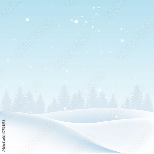 Fotobehang Lichtblauw Christmas landscape with snow and trees. Vector illustration