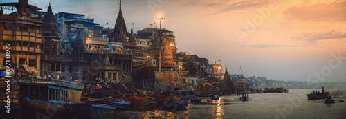 Spoed Foto op Canvas India Varanasi India. The oldest living city panorama