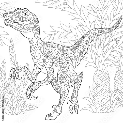 Fotografie, Obraz  Coloring page of velociraptor dinosaur of the late Cretaceous period