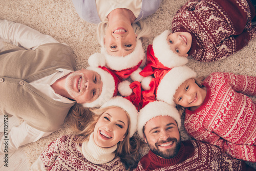 High angle portrait of six cheerful beautiful relatives on