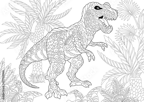 Fotografie, Obraz  Coloring page of tyrannosaurus (t rex) dinosaur of the late Cretaceous period
