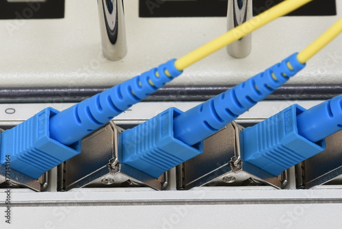 Fotografie, Obraz  Telecommunication IP Technology, Optical Line Unit with Fiber Optical Network Ca
