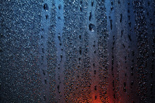 Raindrops On Sweaty Window Wit...
