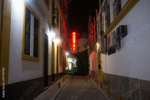 Neon backpacking hostel sign in European city alley Poster