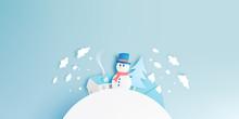 Snowman And Winter Landscape W...