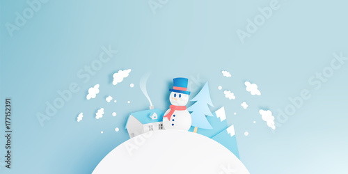 Poster Bleu clair Snowman and Winter landscape with paper art style and pastel color scheme