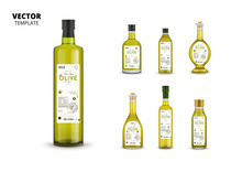 Natural Extra Virgin Olive Oil Realistic Glass Bottles With Labels. Layout Of Food Identity Branding, Modern Packaging Design. Traditional Healthy Product, Organic Vegan Nutrition Vector Illustration