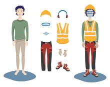 Un Lavoratore Indossa Dispositivi Di Protezione Individuale Per La Salute E La Sicurezza Sul Lavoro.