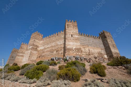 Fototapeta wał, od, punkt orientacyjny, starożytny, arabski, zamek, od, Burgalimar, od, X, stulecie, publiczny pomnik, w, wieś, Banos, od, do, niejaki, Encina, Jaen, Andalusia, Hiszpania, Europa