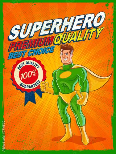 Plakat sztandar najwyższej jakości z superbohaterem