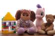 Children's toys on a white background