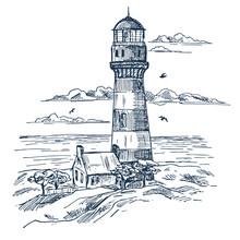 Lighthouse Sketch On Seashore ...
