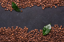 Coffe Beans With Coffe Leaves ...