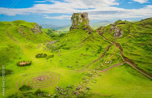 Photo  The famous Fairy Glen, located in the hills above the village of Uig on the Isle of Skye in Scotland