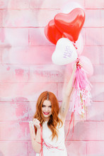 Redhead Girl With Balloons