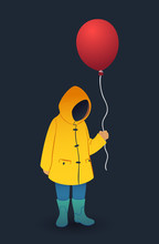 Kid In Yellow Raincoat And Rubber Boots Holds Red Balloon. Vector Illustration On Dark Background. IT Horror Concept.
