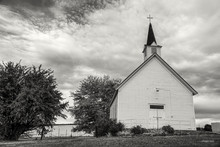 B&W Of Old Country Church.