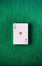 Cards: Ace Of Hearts Sits On G...