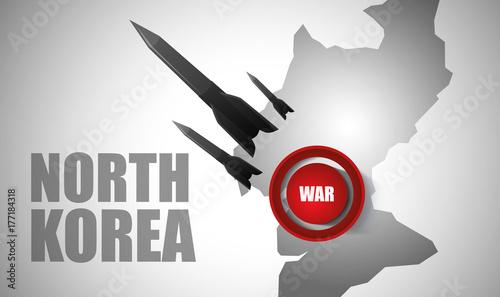 Plakat Rakiety w tle Mapa Korei Północnej. Konflikt Korei Północnej i Stanów Zjednoczonych. Czerwony przycisk