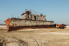 Aral Sea Disaster. Abandoned R...