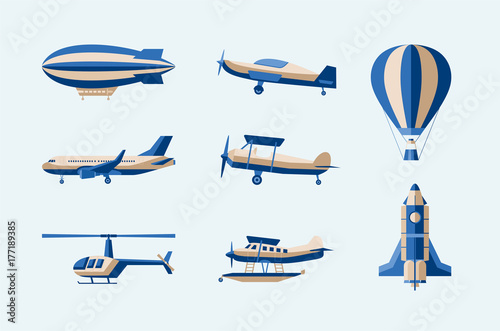 Valokuvatapetti Aircraft - modern vector isolated set of objects