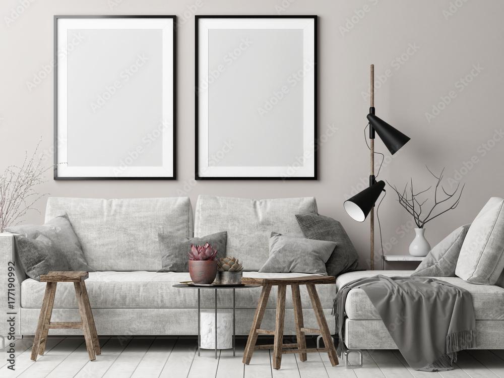 Fototapety, obrazy: Mock up posters in Nordic hipster living room, 3d render, 3d illustration