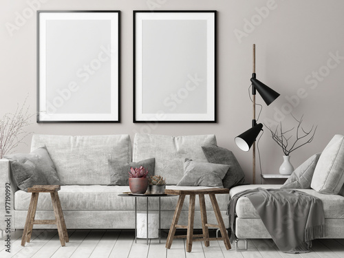 living room posters. Mock up posters in Nordic hipster living room  3d render illustration