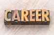 career word abstract in wood type