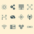 Machine Icons Set. Collection Of Radio Waves, Related Information, Hive Pattern And Other Elements. Also Includes Symbols Such As Brain, Base, Wifi.