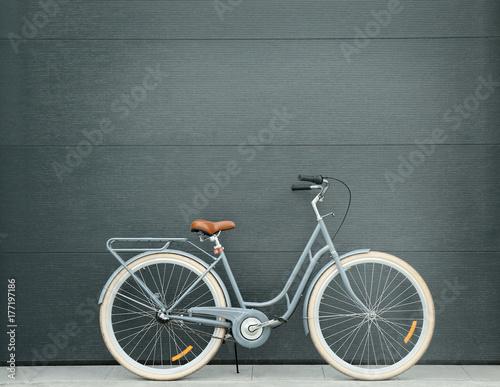 Türaufkleber Fahrrad Retro bicycle near color wall