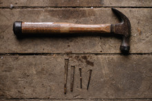 Vintage Tools Hammer Nails And...