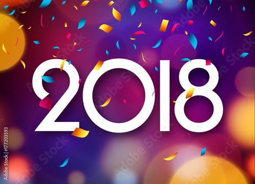 Fotografie, Obraz  Happy New Year 2018 background decoration