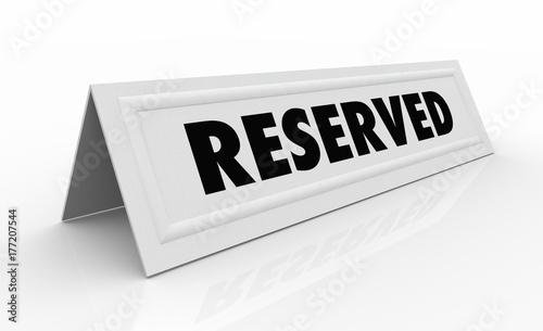 Tablou Canvas Reserved Guest Spot Reservation Name Tent Card 3d Illustration