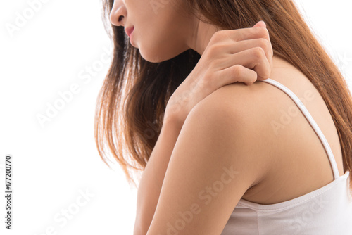 Leinwand Poster Close up women scratch the itch with neck isolated on white background, Concept with Healthcare And Medicine
